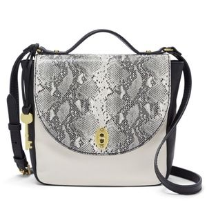 NWT Fossil Vintage Snake Print  Crossbody Leather